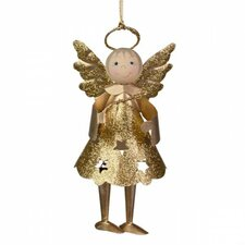 Glittered Metal Angel Hanging Figurine (Set of 6)