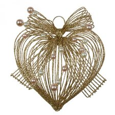 Glitter Loop Heart Hanging Figurine (Set of 4)