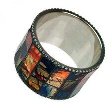 Napkin Ring wth Mosaic Glass Inlay (Set of 6)