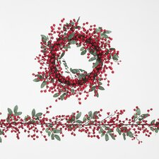 50cm Red Berry Grape Vine and Foliage Wreath