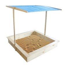 Wood 3.75' Square Sandbox with Cover