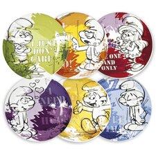 The Smurfs 6 Piece Dessert Plate Set