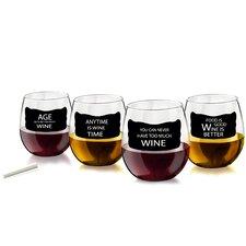 4 Piece 16 oz. Stemless Wine Glass Set (Set of 4)