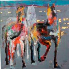 Amazing Horses Original Painting on Canvas