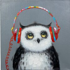 Attentive Owl Original Painting on Canvas