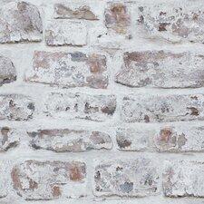 "Whitewashed Wall White 33.5' x 22"" Brick Wallpaper"