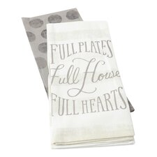 2 Piece Full Hearts Dishtowel Set