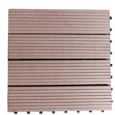 """Composite 12"""" x 12"""" Interlocking Deck Tiles in Walnut Brown"""