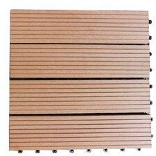 """Composite 12"""" x 12"""" Interlocking Deck Tiles in Redwood Brown"""