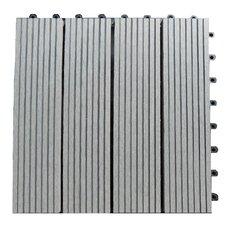 "Composite 12"" x 12"" Interlocking Deck Tiles in Concrete Gray"