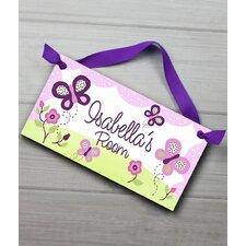 Sugar Plum Butterfly Personalized Bedroom Door Sign