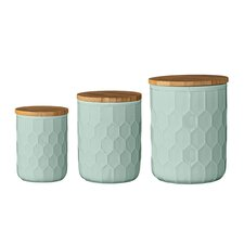 3 Piece Ceramic Jar with Bamboo Lid Set