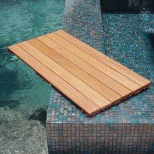 "Hardwood 36"" x 18"" Snap in Deck Tiles in Natural"