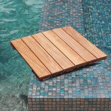 "Hardwood 18"" x 18"" Snap in Deck Tiles in Natural"
