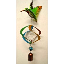 Hummingbird Stained Glass Hanger with Spiral and Bell