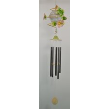 Frog Metal Solar with Flowers Wind Chime