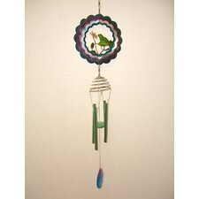 Frog 3D Spinner with Metal Leaf Center Wind Chime