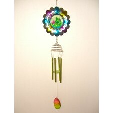 Frog Metal Spinner with Poly Resin Center Wind Chime