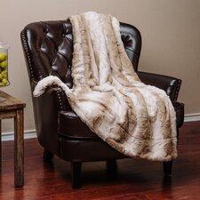 Super Soft Cozy Waivy Leafe Pattern Beige Brown Fuzzy Fur Warm Throw Blanket