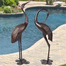 Garden Crane Pair Upright and Preening Statue Set