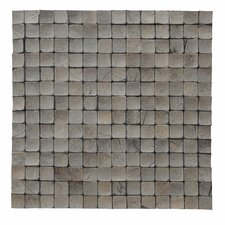 "Kelapa 16.54"" x 16.54"" Coconut Shell Mosaic Tile in Tumbled Oyster Shell"