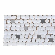 "Kelapa 16.54"" x 16.54"" Coconut Shell and Ceramic Mosaic Tile in Fusion - White Patina"
