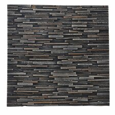 "Artistica Valley 16.54"" x 16.54"" Teakwood Slice Mosaic Tile in Mixed Slate"