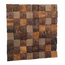 "Artistica 15.75"" x 15.75"" Teakwood and Coconut Shell Mosaic Tile in Aztec Patchwork"