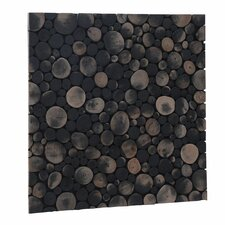 "Terra Riverbed 16.54"" x 16.54"" Teak Branch Mosaic Tile in Charcoal"