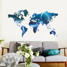 Blue World Map Wall Decal
