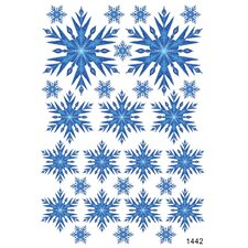 Blue Frosted Snowflakes Wall Decal