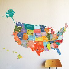 US of A Interactive Map Wall Decal
