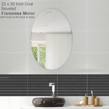 Oval Beveled Polish Frameless Wall Mirror with Hooks