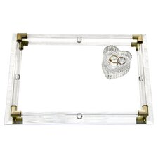 Mirror Vanity Tray with Gold Corner Accents