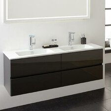 Limited Edition 120cm Wall Mounted Double Basin Vanity Unit with Taps