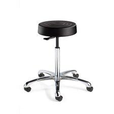 ErgoLux Height Adjustable Backless Stool with Dual-Wheel Hard Floor Casters
