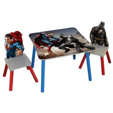 Batman v Superman Dawn of Justice Kids' 3 Piece Rectangle Table and Chair Set