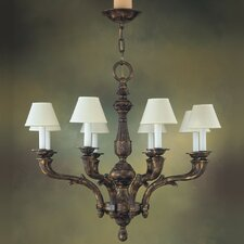Zamora Eight Light Traditional Chandelier in Aged Bronze