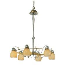 Rimini Six Downward Light Chandelier in Vintage Gold