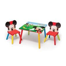 3-tlg. Quadratischer Kinder Tisch und Stuhl-Set Micky Maus