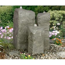 Basalt Rock Watershed/Cascade Glass Fiber Reinforced Concrete Triple Pondless Fountain Kit