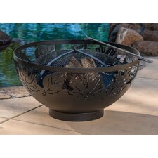 Autumn Leaves Steel Fire Bowl with Spark Screen and Poker