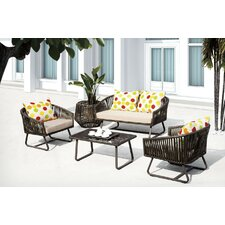 Finest Poly Rattan 5 Piece Deep Seating Group with Cushion