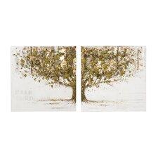 2-tlg. Leinwandbild-Set Mystic Golden Tree, Originalgemälde