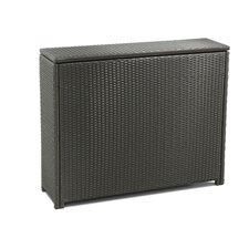 Kissenbox aus Kunststoffrattan und Stahl
