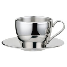 Stainless Steel Double Walled Capuccino Cup with Saucer