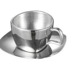 Misto Stainless Steel Double Wall Cup with Saucer