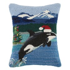Whale with Santa Hat Wool Hook Lumbar Pillow