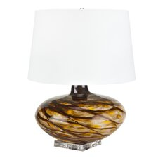 "Amber Swirl Glass 24"" Table Lamp"