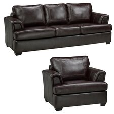 Royal Cranberry Italian Leather Sofa and Chair Set